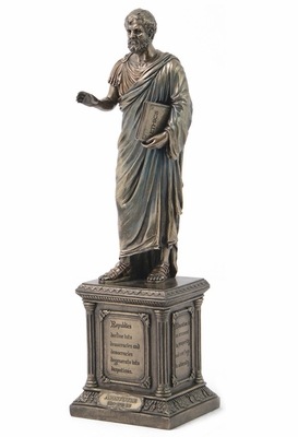 Standing Aristotle Statue with Pedestal in Cold Cast Bronze Brand Unicorn Studio