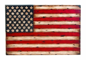 Metal Flag Wall Decor With American Flag Replica - 13965 by Benzara