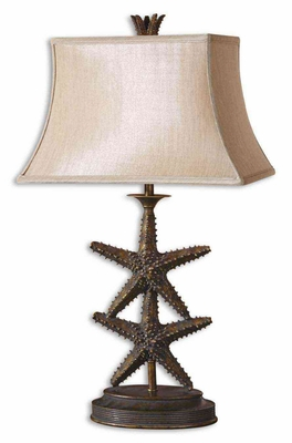 Starfish Antiqued Gold Table Lamp in Dark Gray Finish Brand Uttermost