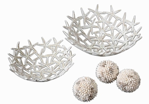 Starfish Style Bowl Set With Real Sea Shell Spheres Brand Uttermost