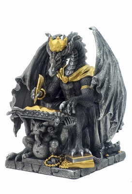 Statue of Black and Yellow Royal Dragon of Wisdom with Square Base Brand Unicorn Studio