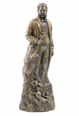 Statue of Johann Strauss II Holding a Violin in Cold Cast Bronze Brand Unicorn Studio