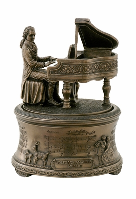 Statue of Mozart Playing Piano on Music Box in Cold Casted Bronze Brand Unicorn Studio
