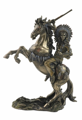 Statue of Sioux Chief Raising Rifle on Rearing Horse in Bronze Brand Unicorn Studio