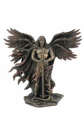 Statue of Six-Winged Guardian Angel with Serpent in Cast Bronze Brand Unicorn Studio