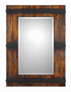 Stocklye Rustic Wall Mirror with Charcoal Gray Mahogany Finish Brand Uttermost