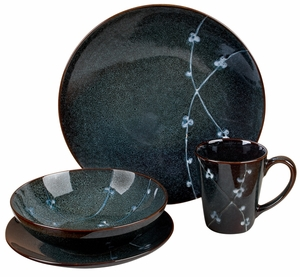 Stoneware Dinner Set with Delicate Floral Design - Set of 16 Brand Woodland