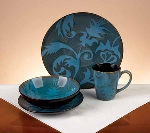 Stoneware Dinner Set with Leaf and Floral Design - Set of 16 Brand Woodland