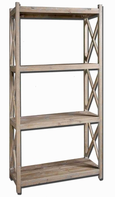 Stratford Etageres Bookshelf Stand With Reclaimed Wood and Glaze Brand Uttermost