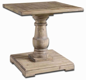 Stratford Pedestal End Table With Salvaged Fir Wood Brand Uttermost