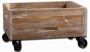 Stratford Rolling Storage Box With Reclaimed Fir Wood Brand Uttermost