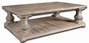 Stratfort Rustic Cocktail Table with Salvaged Fir Wood Brand Uttermost