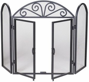 Striking 3 Fold Black Wrought Iron Screen with Scrolls