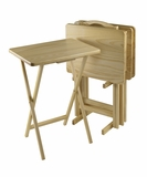 Striking 5pc TV Table Set, Rectangular, Pine Wood by Winsome Woods