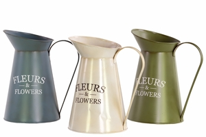 Striking Assorted set of Three Metal Pitcher