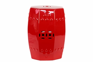 Striking Buckingham's Craved Ceramic Stool Red
