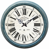 Striking Circular Blue Iron Wall Clock with glass by Yosemite Home Decor
