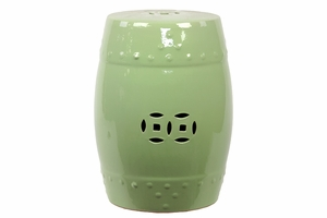 Striking Hammered Pattern & Cut Design Ceramic Garden Stool w/ Glossy Finish in Green