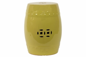 Striking Hammered Pattern & Cut Design Ceramic Garden Stool w/ Glossy Finish in Yellow