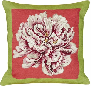 Striking Peony Green & Pink Needlepoint Pillow by 123 Creations