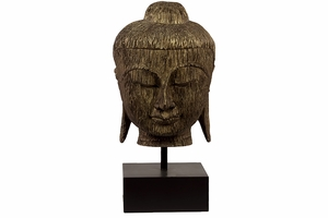 Striking Resin Buddha Bust With Wood Texture by Urban Trends Collection