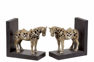 Striking Resin Wild goat Bookend Champagne Color