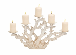Striking Styled Polystone Metal Coral Candle Holder by Woodland Import