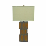 Striking Styled Resin Table Lamp with Beige Fabric Shade by Yosemite Home Decor
