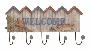 Striking Styled Wood Metal Welcome Hook by Woodland Import