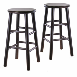 "Striking Stylized Set of 2 Assembled 24"" Bevel Seat Stool by Winsome Woods"
