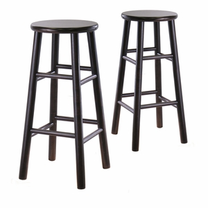 "Striking Stylized Set of 2 Assembled 30"" Bevel Seat Stool by Winsome Woods"