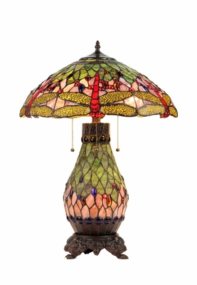 Striking Tiffany-Style Dragonfly Table Lamp by Chloe Lighting