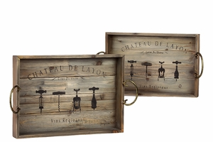 Striking Wooden Printed Set of Two Tray with Metal Handles