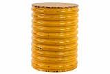 String Patterned Bright Circular Yellow Metal Stool