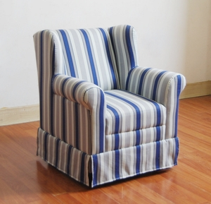 Striped Cushion Boys Wingback with a Blue Ticking by 4D Concepts