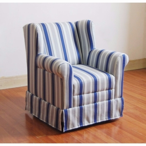 Striped Cushion Boys Wingback with a Blue Ticking - 4D Concepts