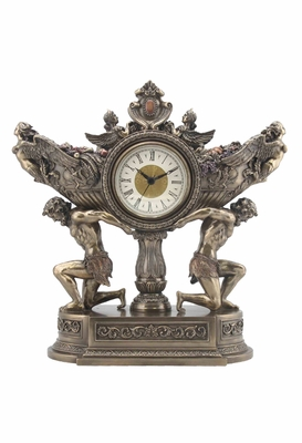 Strong Men Carrying Vessel of Harvest Clock in Polystone Brand Unicorn Studio