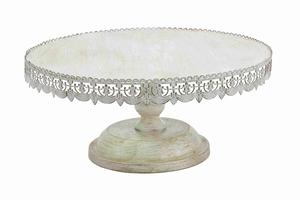 "Metal 10"" H Cake Stand with Soft White Polish in White color - 50482 by Benzara"