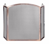 Stunning 3 Panel Antique Copper Screen with Arched Center Panel