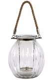Stunning Glass Bowl Lantern w/ Metal Holder & Jute Rope Handle