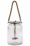 Stunning Glass Jar Lantern w/ Metal Holder & Jute Rope Handle