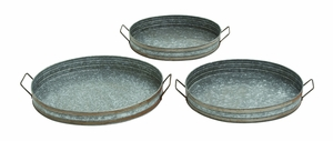 Stunning Indian Metal Galvanized Tray Set/3 by Woodland Import