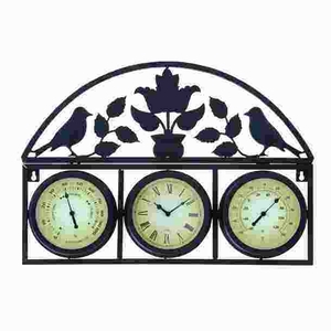Stunning Metal Clock Thermometer Detailed with Smooth Contours Brand Woodland