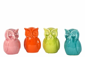 Stunning Set of Four Assorted Owl Ceramic Bank by Urban Trends Collection
