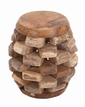 Sturdy and Durable Wooden Teak Stool in Rich Brown Texture Brand Woodland