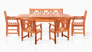 Sturdy and Large Dining Set w/ rectangular table, 3-seater bench and armchairs by Vifah