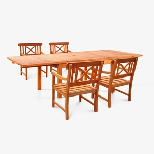 Sturdy and Large Dining Set w/ rectangular table and armchairs by Vifah