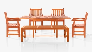 Sturdy and Large Dining Set w/ rectangular table, backless bench and armchairs by Vifah