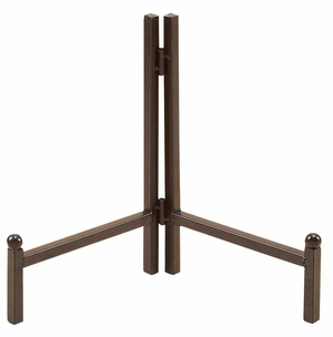 Sturdy and Robust Plate Stand with Metalic Finish in Brown Brand Woodland - 75955 by Benzara