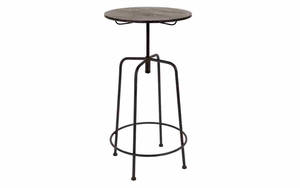 Sturdy And Stylish Metal Bar Table With Restoration Look Brand Woodland